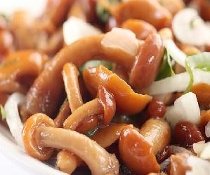 Солоноватый салат с овощами в маринаде и грибами опятами