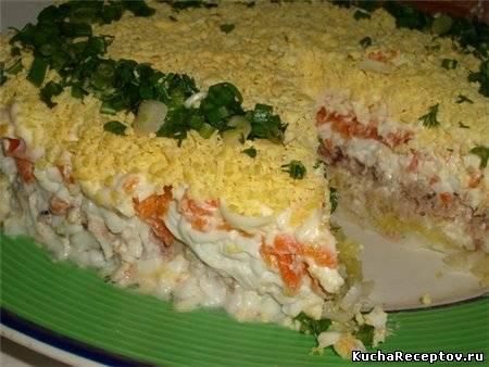 слоеный  куриный  салат  с  грибами
