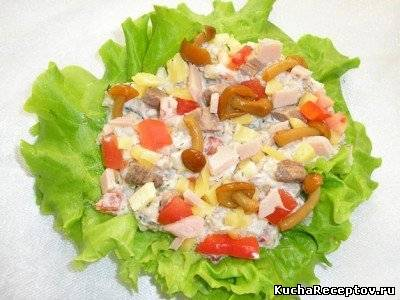 крабовый салат с опятами